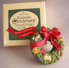 "Hallmark Keepsake Ornament, Keepsake Ornament Club Ornament, ""Wreath of Memories"", 1987."