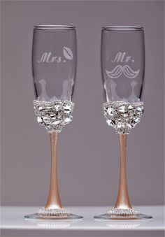 Personalized Wedding glasses champagne color by WeddingArtGallery