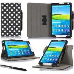 rooCASE - Dual View Folio Case for Samsung Galaxy Tab Pro 8.4, Polkadot Black