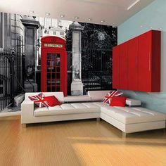 1 Wall Red British Telephone Box on a Black and White Backdrop Wall Mural Red Walls, White Walls, London Phone Booth, Red Wall Art, Room London, London Wall, Style Deco, White Backdrop, Wall Wallpaper