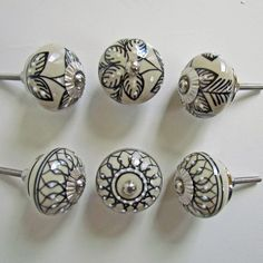 """Decorative Ceramic Knobs, Set of 6, """"Ivory Mix"""", Black and White Dresser Knobs, Drawer Pulls, Bedroom Night Stand Knobs, Armoire Handles by CormeenKnobs on Etsy https://www.etsy.com/listing/266971451/decorative-ceramic-knobs-set-of-6-ivory"""