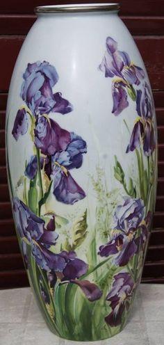 Vase with iris design Porcelain Jewelry, Porcelain Vase, Fine Porcelain, Painted Porcelain, Hand Painted, Art Nouveau, Art Deco, Ceramic Decor, Ceramic Pottery