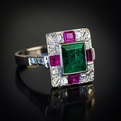 """Romanov Russia Antiques (@romanov_russia) on Instagram: """"An Art Deco emerald, ruby and baguette cut diamond ring of a geometric design, 1930s, Vienna assay…"""""""