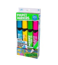 Rose Art 4ct Washable Sidewalk Chalk Paint Neon Markers