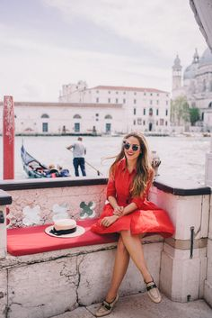 Gal Meets Glam A Day in Venice - Anthropologie dress, Chanel loafers, Miu Miu bag, Eugenia Kim hat