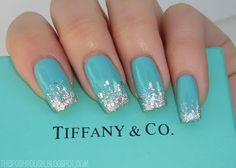 Tiffany blue with silver glitter tips