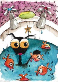 ACEO Original watercolor Folk Art painting black cat crow gold fish bath soap