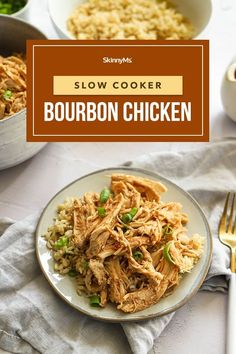 This shredded bourbon chicken is the perfect weeknight dinner because it's so simple to make! Slow Cooker Freezer Meals, Healthy Slow Cooker, Slow Cooker Recipes, Crockpot Meals, Healthy Dinner Options, Healthy Dinner Recipes, Healthy Meals, Yummy Recipes