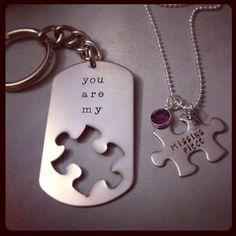 SALE-Personalized Necklace Keychain Set Hand Stamped Jewelry - You Are My Missing Piece Set Father Daughter Necklace, Bff, Love Keychain, Couple Items, Gifts For My Boyfriend, Hand Stamped Jewelry, Personalized Necklace, Gifts For Him, Anniversary Gifts