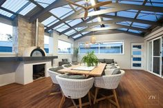 Table and chairs Outdoor Living Rooms, Outdoor Dining, Indoor Outdoor, Alfresco Area, Outdoor Areas, Pizza Ovens, Pergola, New Homes, House Design