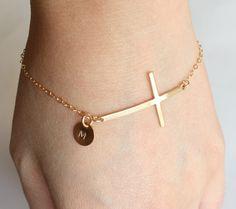 Initial bracelet, sideways cross bracelet, 14K gold filled, personalize bracelet, family friendship mother christmas thanksgiving gift. $33.90, via Etsy.