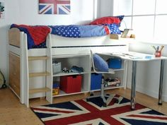 <p>This stylish yet contemporary midsleeper is ideal for any child's bedroom.</p> <p>Featuring a 3 drawer chest, two low bookcases and a fixed desk, to give you ample storage space and a useful place to study at. All the furniture can be positioned anywhere underneath the main frame, to suit your room layout best.</p> <p>Beautifully finished in a solid white lacquer with complementing solid birch head and footends and steps.</p>