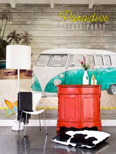Green Camper van digital photo wallpaper collection Lef - BN Wallcoverings