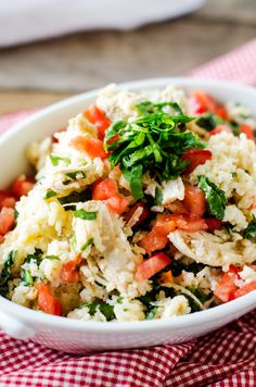 Slow Cooker Chicken and Rice with Feta and Spinach - Wendy Polisi  substitute quinoa for the rice