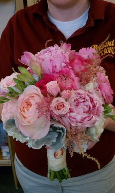 Beautiful pink peony bridal bouquet