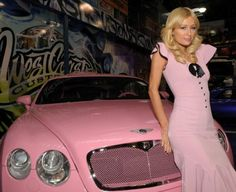Pink Bentley of Paris Hilton... Why is paris hilton always match her dress with her car color...
