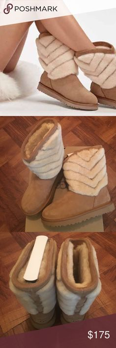 """SOLDCHESTNUT TANIA UGG BOOTS AUTHENTIC BRAND NEW NEVER WORN TANIA UGG BOOTS, CHESTNUT COLOR, THESE FAB BOOTS IS RATED AS A 5ITEM ON THE UGG WEBSITE,CHERON STRIPES IN PLUSH SHEEPSKIN LEND CHIC TEXTURE TO THE TANIA. LINED IN NATURAL WOOL AND FINISHED WITH OUR LIGHTWEIGHT, CUSHIONING TREADLITE BY UGG TM SOLE, THIS SUEDE BOOT IS UGG COMFORT AT ITS BEST, 8 1/2"""" SHAFT HEIGHT... MY PRICE IS FIRM AND I THANK YOU FOR VISITING MY CLOSET ORG $175 PLUS TAXES IS $190.31.. UGG Shoes Winter & Rain Boots"""