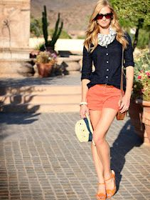 Coral shorts and a cardigan make for a preppy spring outfit. Coral Shorts, Orange Shorts, Bright Shorts, Peach Shorts, Coral Jeans, Fashion Mode, Womens Fashion, Fashion Trends, Prep Fashion
