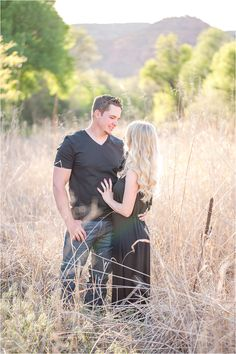 Sedona engagement shoot with casual long black maxi dress and tall grass - Photos by Drew Brashler Photography