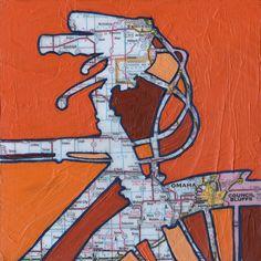 Bike Omaha- bike art print.