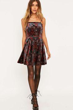 Pins & Needles Lulu Purple Fit and Flare Velvet Dress
