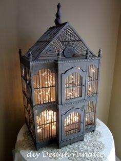 This birdcage of lights would be good tucked in a dark corner or as the main focus on a buffet table or bar.