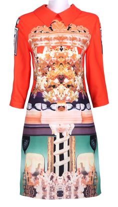 Orange Wing Collar Half Sleeve Retro Print Shift Dress.  Kind of loving these crazy prints right now