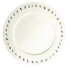 Beautiful fine bone china plate with skiier graphic around the rim. Perfect gift with matching mugs Chalet Chic, China Plates, Case, Dinner Plates, Bone China, Mugs, Tableware, Gifts, Beautiful