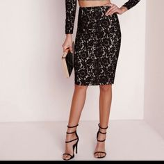 ✨Sexy nude and black w/flowered pattern skirt In good condition wore once INC International Concepts Skirts Pencil