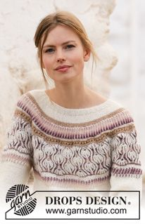 Knitted jumper with round yoke in DROPS Alpaca and DROPS Delight. The piece is worked top down with English rib, stripes and lace pattern. Drops Design, Sweater Knitting Patterns, Knitting Designs, Free Knitting, Drops Kid Silk, Drops Baby, Drops Paris, Drops Alpaca, Ravelry