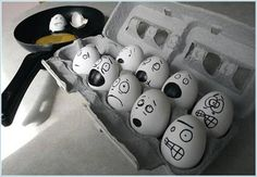 Funny Drawing on Eggs...April Fools joke?