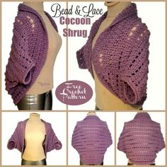 Bead & Lace Cocoon Shrug ~ FREE Crochet Pattern
