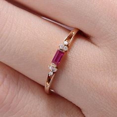 Excited to share the latest addition to my shop: Rose Gold Engagement Ring Baguette Ruby Diamond Cluster July Birthstone Stacking Wedding Band Women Antique Engraving Promise Split Shank Baguette Engagement Ring, Rose Gold Engagement Ring, Vintage Engagement Rings, Stacked Wedding Bands, Wedding Rings, Rose Wedding, Ruby Jewelry, Gold Jewelry, Fine Jewelry