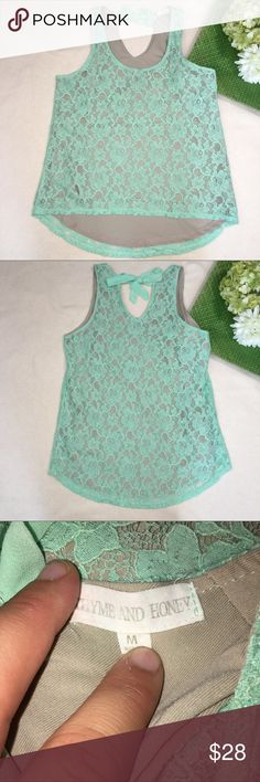 """Mint green tie neck full lace high low blouse Front length: 23"""" 