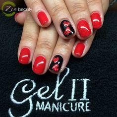 Cute Valentine nails using gel II & Magpie glitters