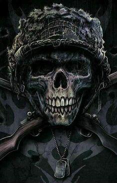 Skull by Christopher Lovell Skull Tattoos, Body Art Tattoos, Totenkopf Tattoos, Skull Pictures, Military Tattoos, Skull Artwork, Skull Wallpaper, Skull Design, Grim Reaper