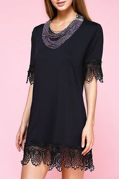 $10.19 Stunning V-Neck Floral Hem Women's Black Dress