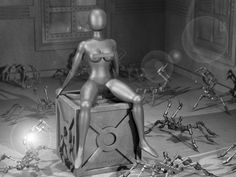 Female nude sculpture made of metal, surrounded by mechanical spiders. 2015, pigmented print. Original work uncensored and without © notice. #sculpture #femalesculpture #metalsculpture #tindoll #steeldoll #cyborg #android #cubebox #lensflare #arachnophobia #mechanicalspiders #tinspiders #spiders #panic #roboticspiders #attackingspiders #blackandwhite #grayscale #curvaceous #erotic #egghead #3dsculpting #sittinggirl #fearofspiders