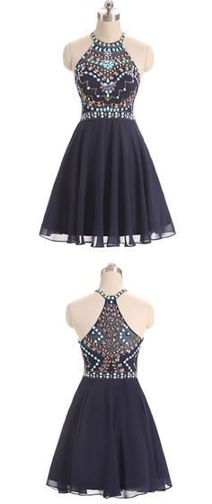 Dark Blue Evening Dress,Beads Short Prom Dress,Cute Dark Blue Homecoming Dress,Halter Prom Dress,Sweet 16 Cocktail Dress,Homecoming Dress,GY56