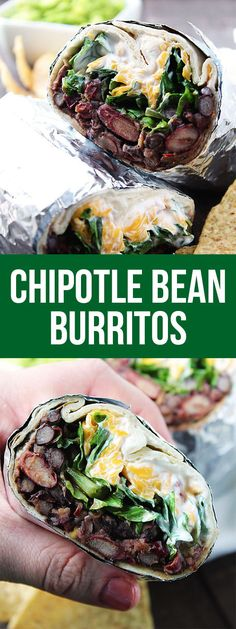 These Chipotle Bean Burritos will quickly become a family favorite dinner! They give you the protein you need, without the meat and they taste wonderful. #dinner #lunch #vegetarian #healthy #easy #fastmeal #cheap