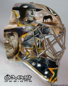 Even my dad would like this goalie mask Goalie Gear, Goalie Mask, Hockey Goalie, Hockey Players, Ice Hockey, Nhl, Hockey Boards, Hockey Room, Stars Hockey