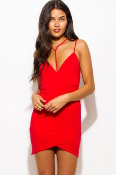 Red Deep V Neck Spaghetti Strap Caged Front Bodycon Mini Dress