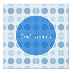 Blue Polka Dots Birthday Invitations