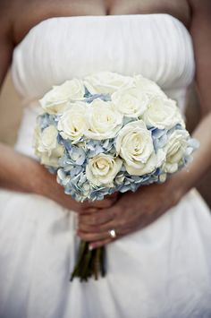 ivory roses and blue hydrangea wedding flower bouquet, bridal bouquet, wedding flowers, add pic source on comment and we will update it. www.myfloweraffair.com can create this beautiful wedding flower look.