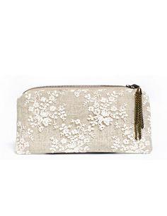 Linen and lace clutch purse boho chic handbag