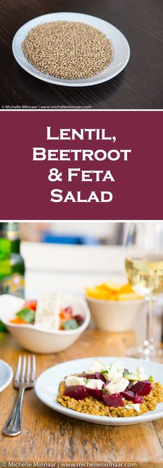 Greek food at its best - Lentil, Beetroot & Feta Salad, also know as Fakes Salata. Sounds delicious.