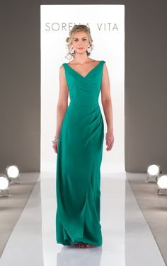 Shop for a stunning floor-length v-neck bridesmaid dress featuring asymmetrical ruching from Sorella Vita, also available in cocktail length.