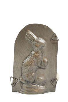 Vintage Rabbit Holding Egg Chocolate Mold