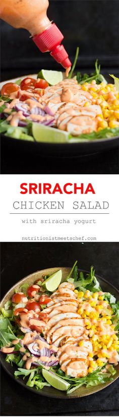 A fresh & spicy sriracha chicken salad with a yogurt dressing. Eat it as a salad, add it to a wrap or add some quinoa or rice!