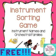 Students will sort instruments into orchestral families and accurately name instruments with a hands-on, interactive, manipulate game. Students use clothespins with instrument names on them to respond physically. This game is self-checking so students can use the answer sheet to check their responses and correct any incorrect responses.